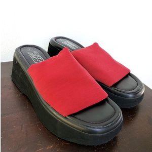 Vtg 90s|Y2k Chunky Red Platform Slide Sandals